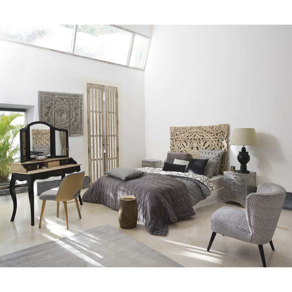 t te de lit 160 sculpt e en manguier massif himalaya. Black Bedroom Furniture Sets. Home Design Ideas