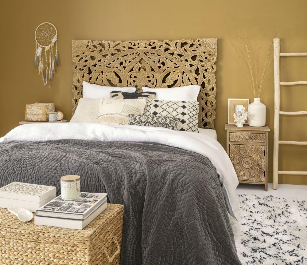 t te de lit 160 sculpt e en manguier massif himalaya. Black Bedroom Furniture Sets. Home Design Ideas