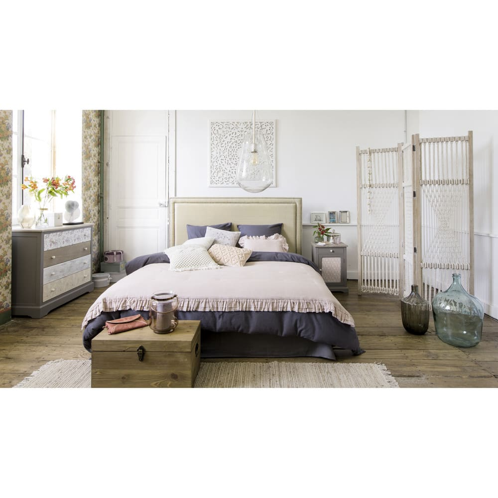 t te de lit 180 en lin beige elise maisons du monde. Black Bedroom Furniture Sets. Home Design Ideas