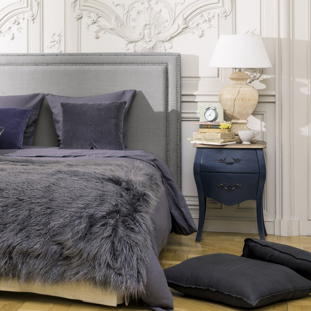 t te de lit 180 en lin gris bleu elise maisons du monde. Black Bedroom Furniture Sets. Home Design Ideas