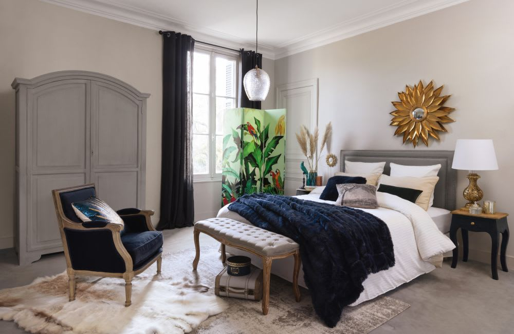 t te de lit 180 en lin gris bleu elise maisons du monde. Black Bedroom Furniture Sets. Home Design Ideas