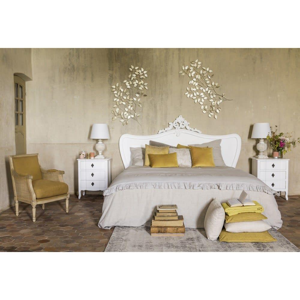 t te de lit 180 en pin blanc vieilli comtesse maisons du monde. Black Bedroom Furniture Sets. Home Design Ideas