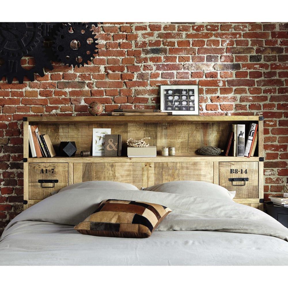 t te de lit avec rangements en manguier massif l 140 cm. Black Bedroom Furniture Sets. Home Design Ideas