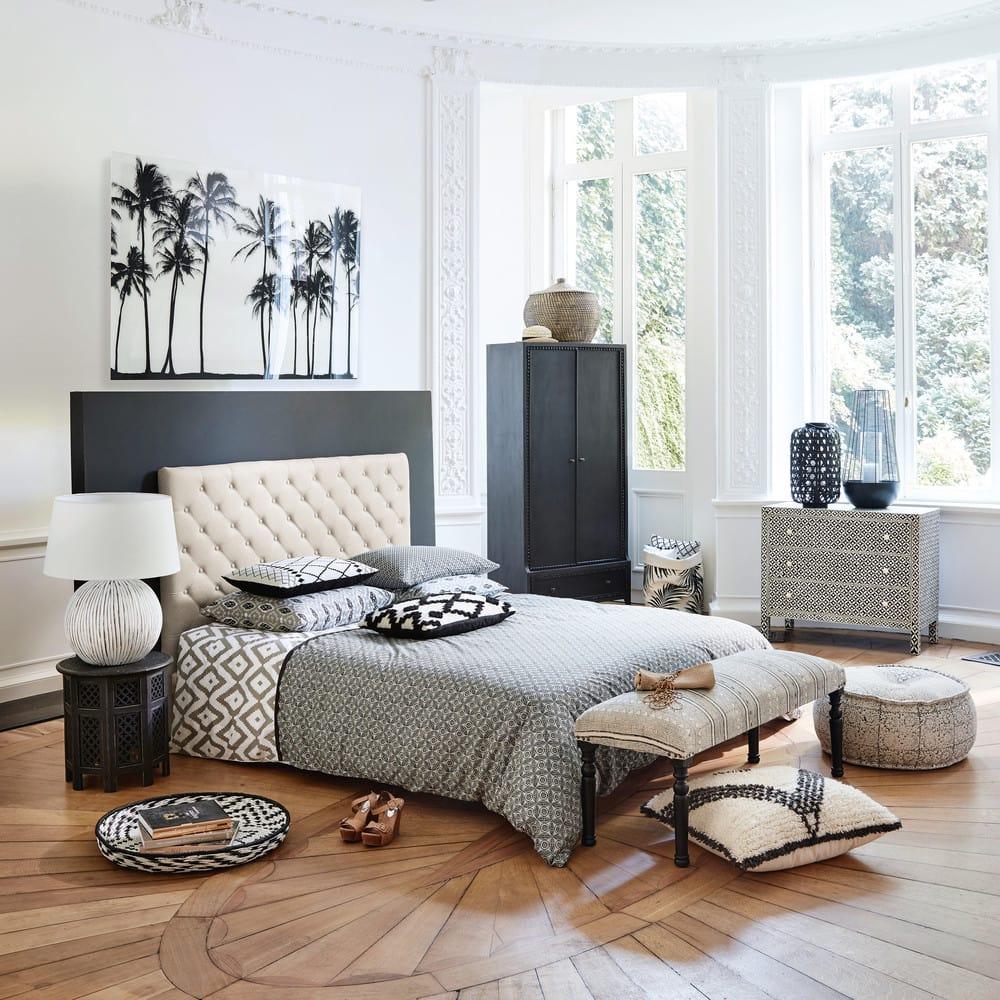 t te de lit capitonn e en lin l 140 cm chesterfield. Black Bedroom Furniture Sets. Home Design Ideas