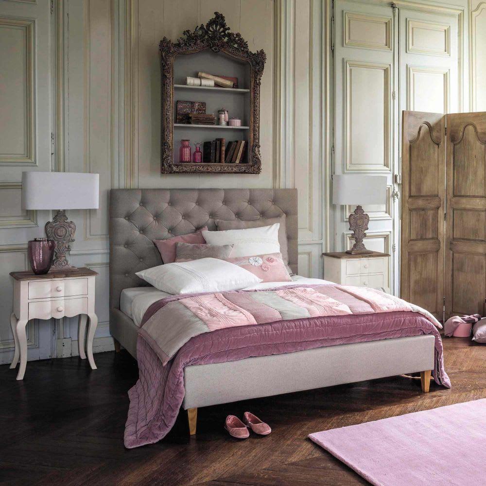 394c430eee7e0 Tête de lit capitonnée en lin L 160 cm Chesterfield   Maisons du Monde