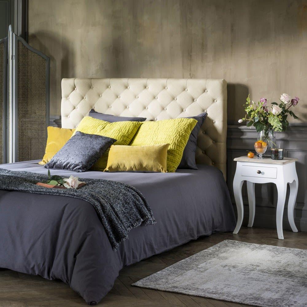t te de lit capitonn e vintage en lin l 180 cm. Black Bedroom Furniture Sets. Home Design Ideas