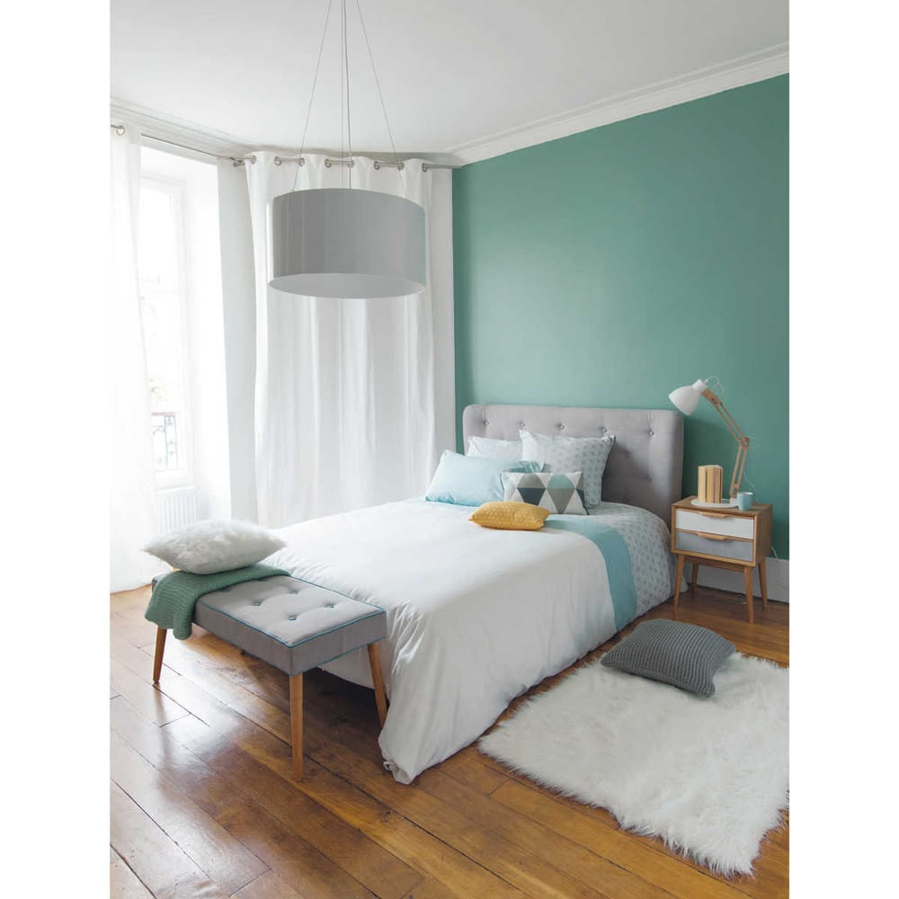 t te de lit capitonn e vintage en tissu grise l140 iceberg maisons du monde. Black Bedroom Furniture Sets. Home Design Ideas