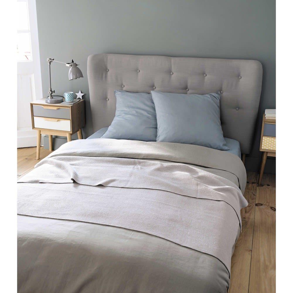 t te de lit capitonn e vintage en tissu grise l160 iceberg. Black Bedroom Furniture Sets. Home Design Ideas
