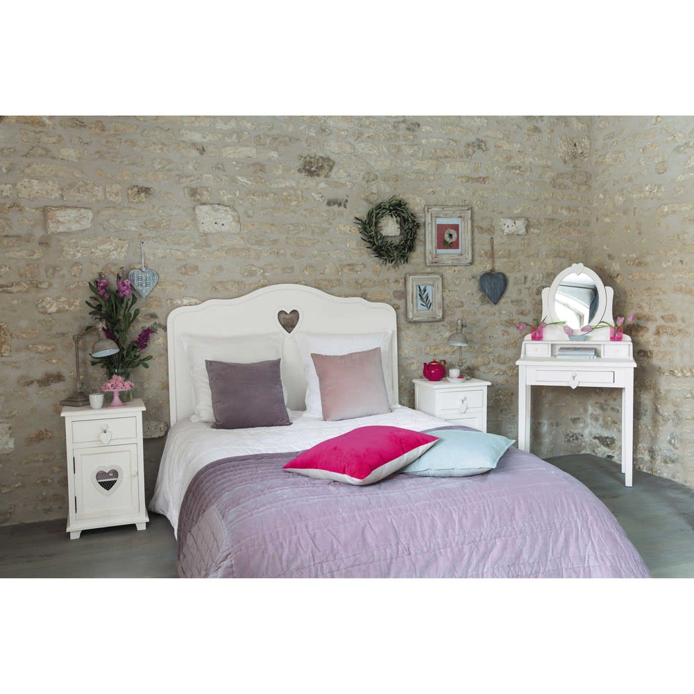 t te de lit en bois blanc l 140 cm valentine maisons du. Black Bedroom Furniture Sets. Home Design Ideas