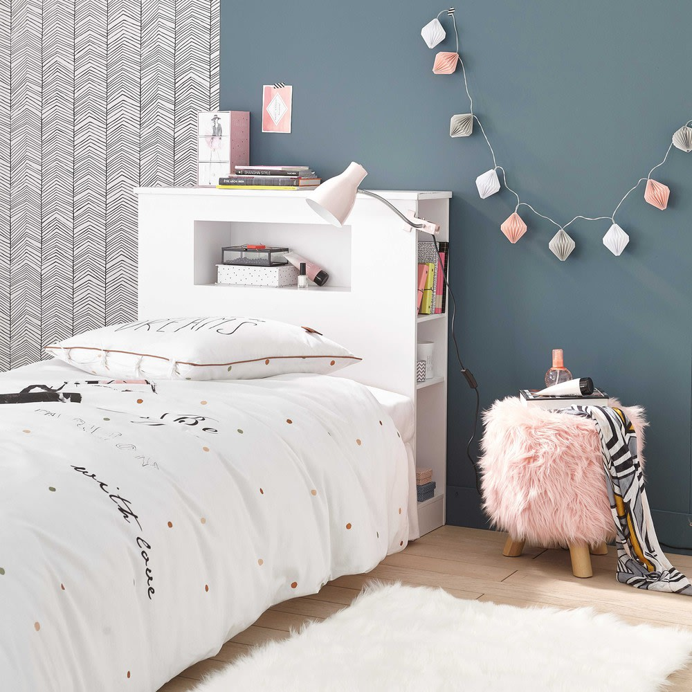 t te de lit en bois blanc l 90 cm tonic maisons du monde. Black Bedroom Furniture Sets. Home Design Ideas