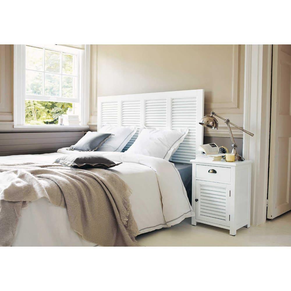 t te de lit en bois blanche l 140 cm barbade maisons du monde. Black Bedroom Furniture Sets. Home Design Ideas