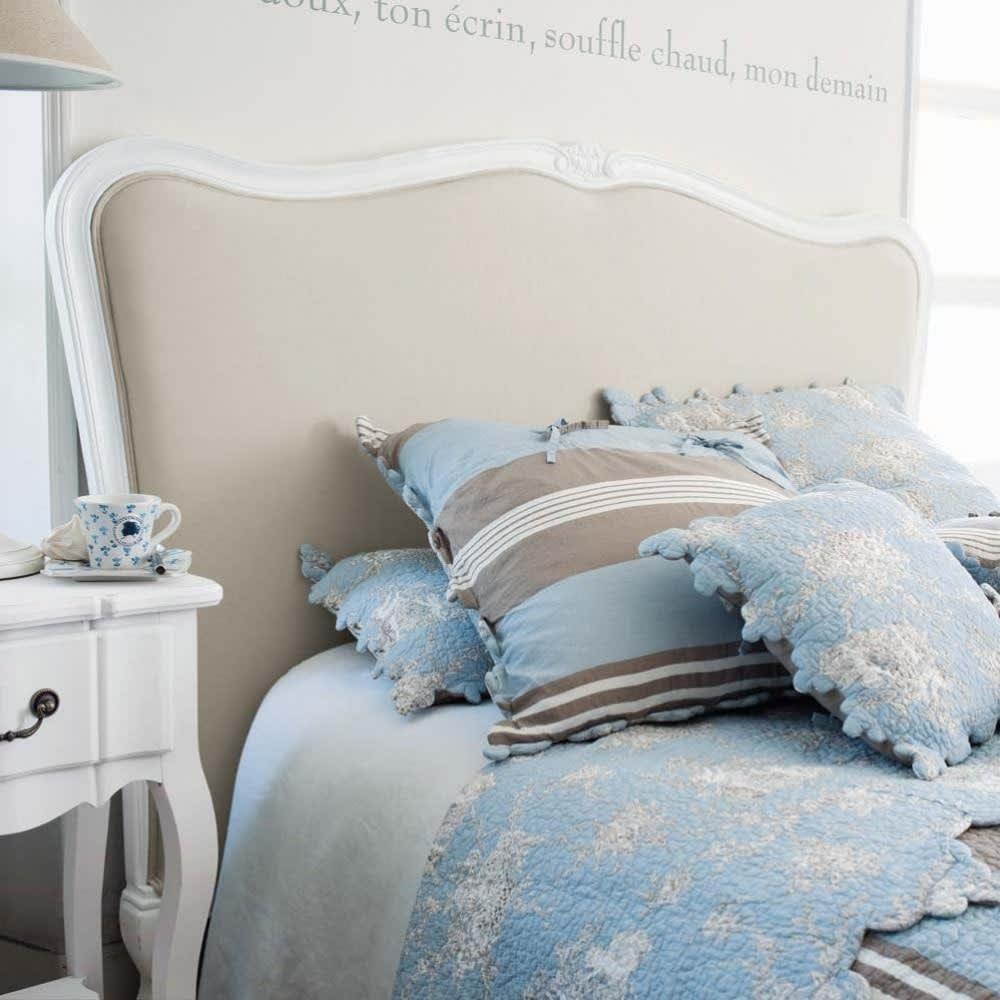 t te de lit en bois massif et coton l 160 cm jos phine. Black Bedroom Furniture Sets. Home Design Ideas