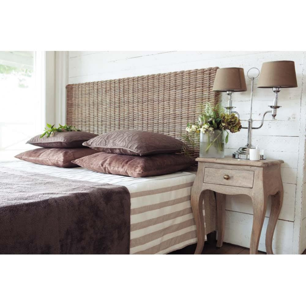 t te de lit en rotin kubu et mahogany massif l 140 cm key west maisons du monde. Black Bedroom Furniture Sets. Home Design Ideas