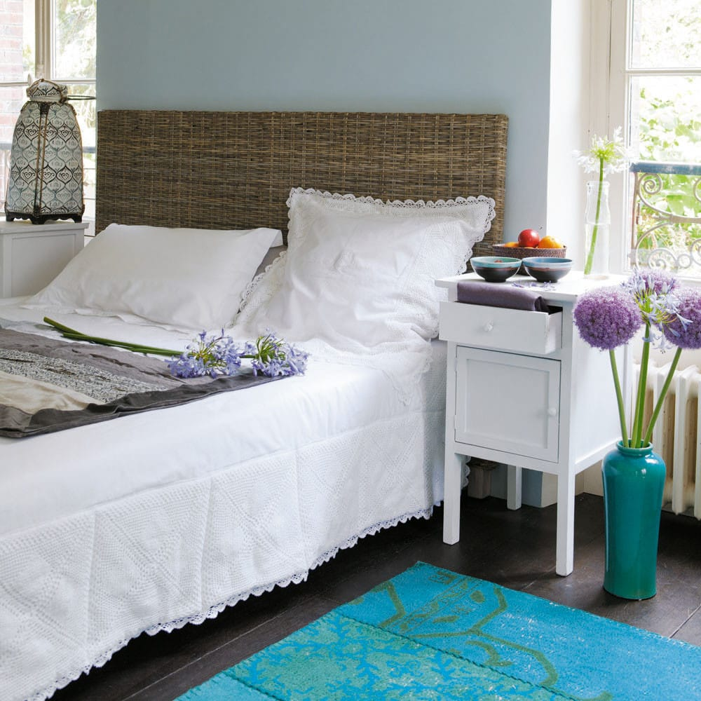 t te de lit en rotin kubu et mahogany massif l 140 cm key west maisons du monde. Black Bedroom Furniture Sets. Home Design Ideas