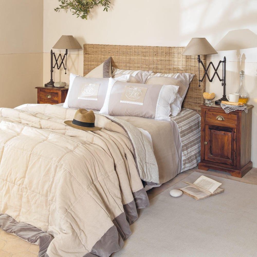 Tête de lit en rotin Kubu et mahogany massif L 140 cm Key West ... 4f2f7f198a1b
