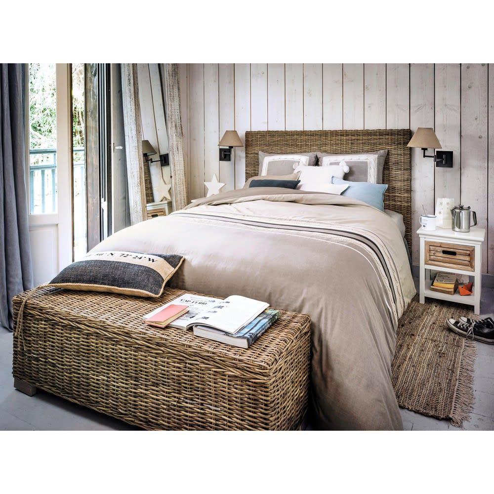 t te de lit en rotin kubu et mahogany massif l 140 cm key. Black Bedroom Furniture Sets. Home Design Ideas