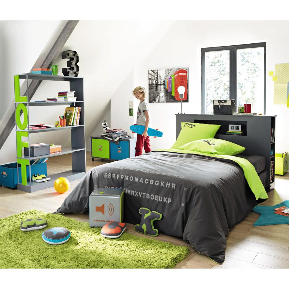 t te de lit grise l 140 cm tonic maisons du monde. Black Bedroom Furniture Sets. Home Design Ideas
