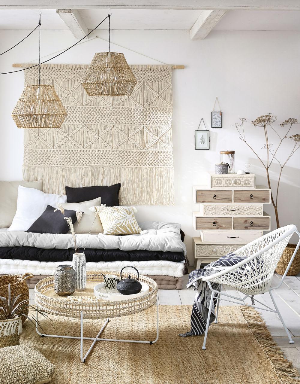 t te de lit macram en coton et corde alawa maisons du monde. Black Bedroom Furniture Sets. Home Design Ideas