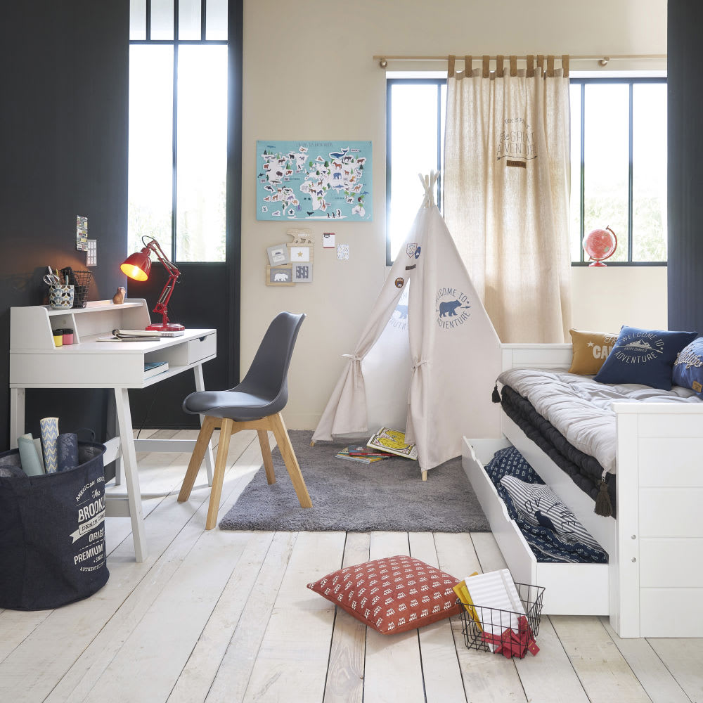 tiroir de lit extensible 90x190 blanc happy camper. Black Bedroom Furniture Sets. Home Design Ideas