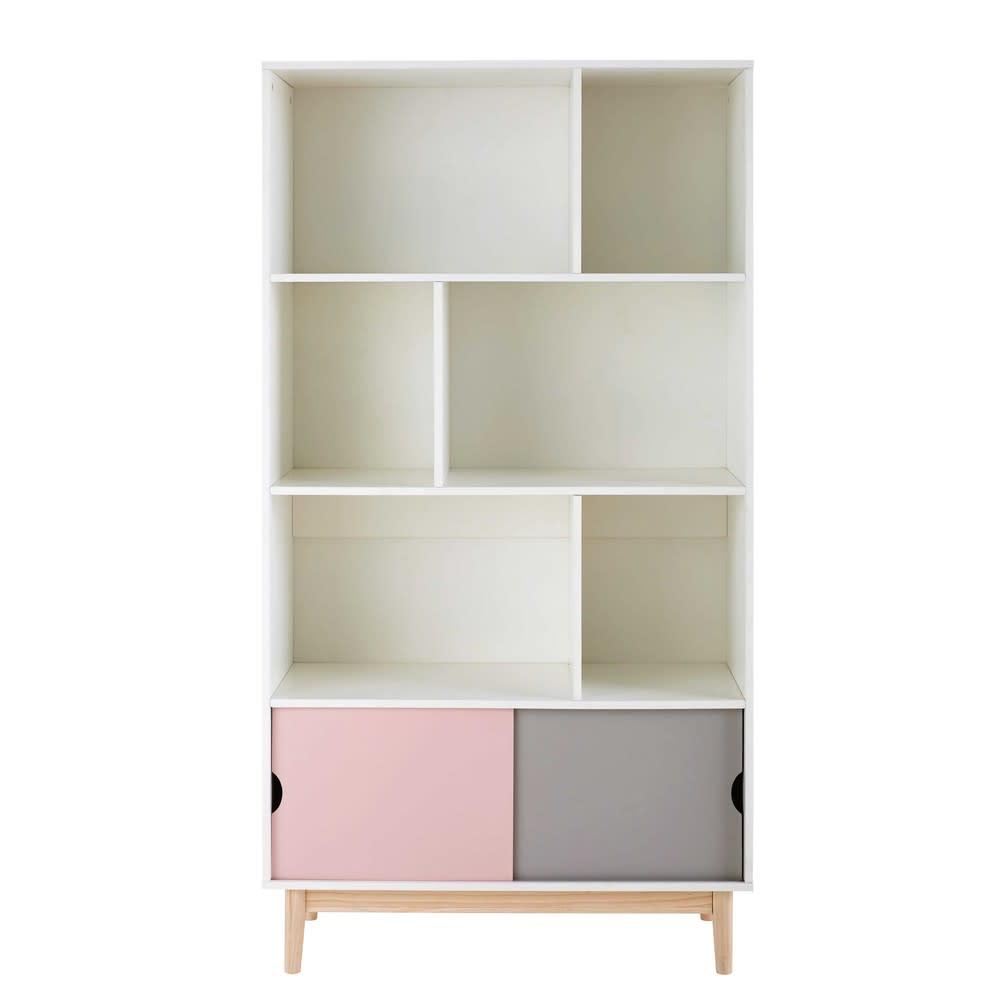 Tricoloured 2 Door Bookcase Blush Maisons Du Monde