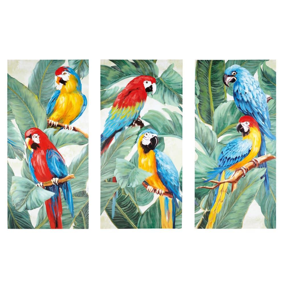 tropical exotic - triptyque toiles perroquets 270x190
