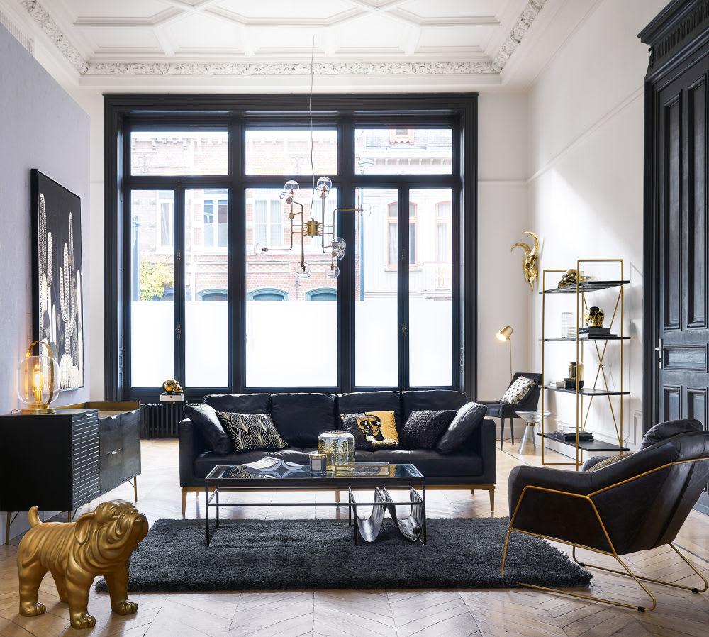 troph e mural t te de buffle dor e 74x69 nomad maisons. Black Bedroom Furniture Sets. Home Design Ideas