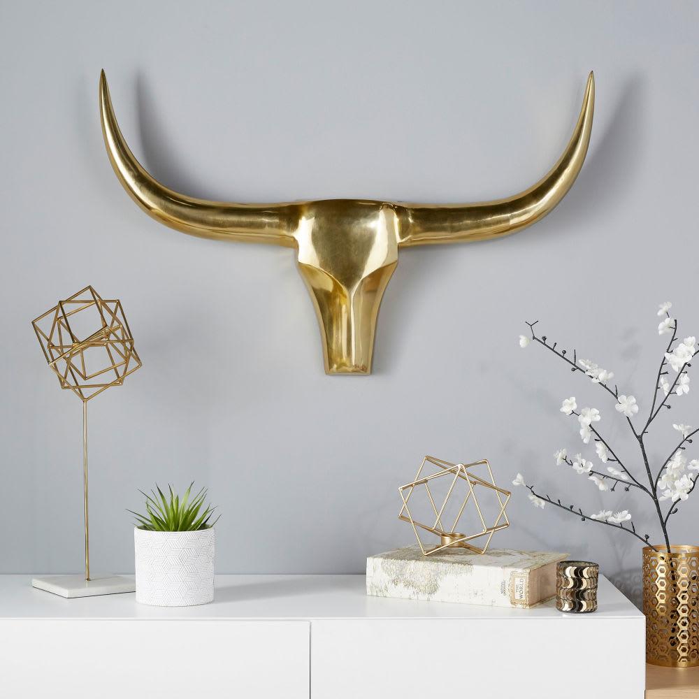 troph e mural t te de buffle en m tal dor 90x57 buffalo. Black Bedroom Furniture Sets. Home Design Ideas