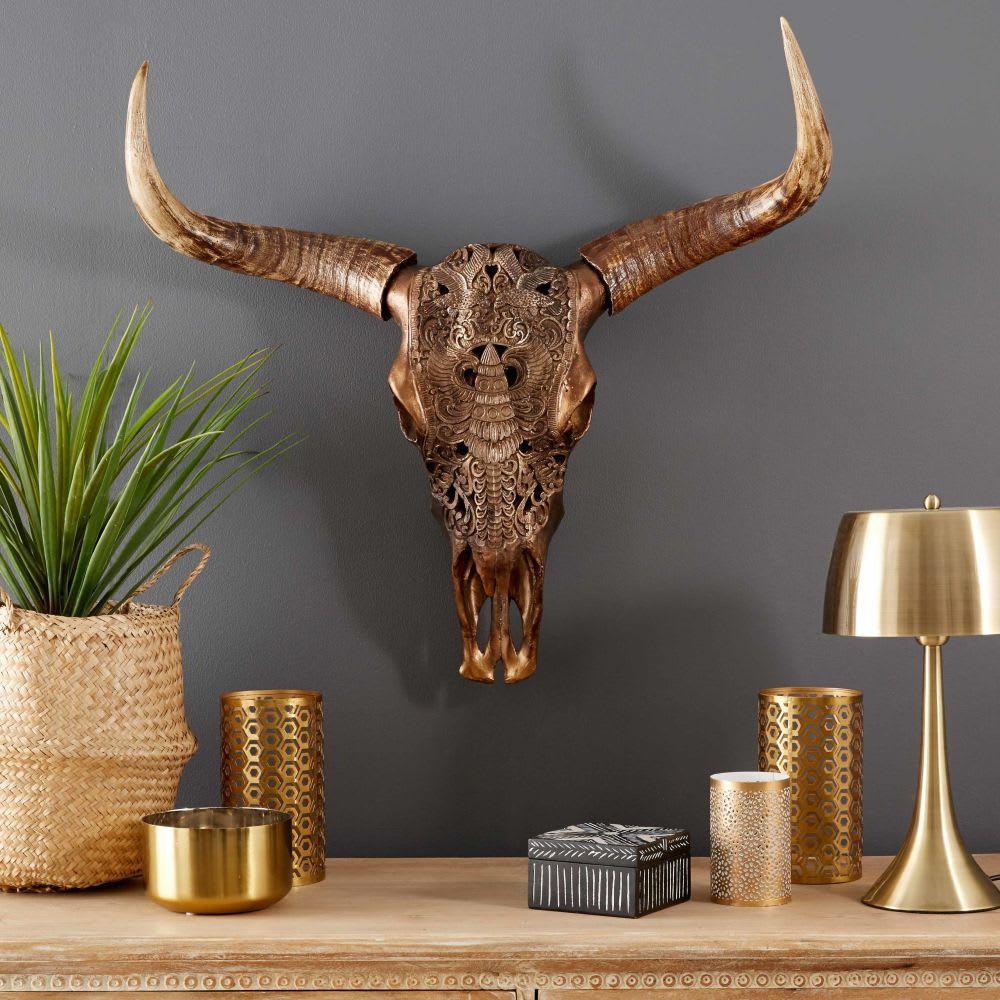 troph e mural t te de buffle sculpt marron 73x73 wild. Black Bedroom Furniture Sets. Home Design Ideas