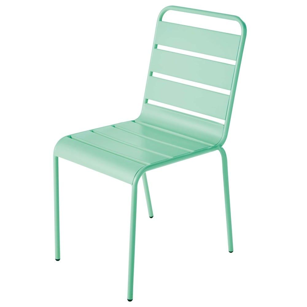 Turquoise Blue Metal Garden Chair Batignolles   Maisons du ...