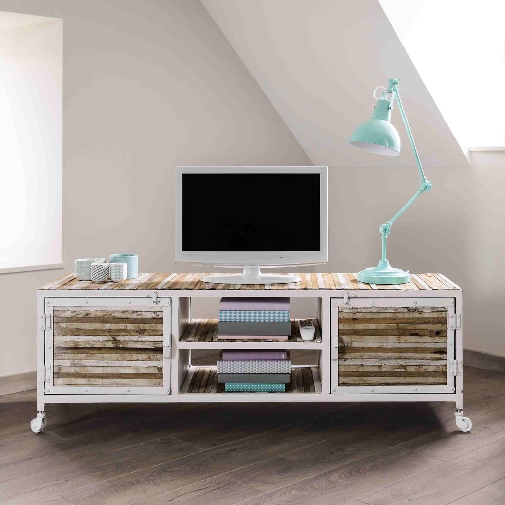 tv lowboard aus metall und holz b 140 cm wei mistral. Black Bedroom Furniture Sets. Home Design Ideas