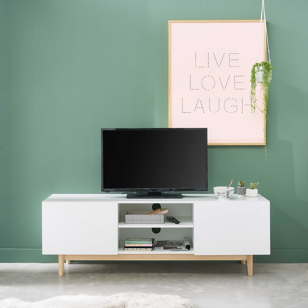 Tv Lowboard Im Vintage Stil Weiss Artic Maisons Du Monde