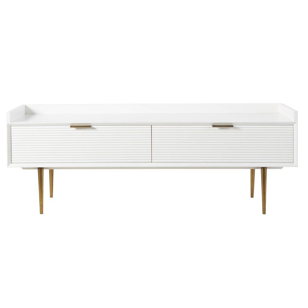 Tv Möbel Im Vintage Stil Mit 2 Türen Weiß Seidenmatt Riverside