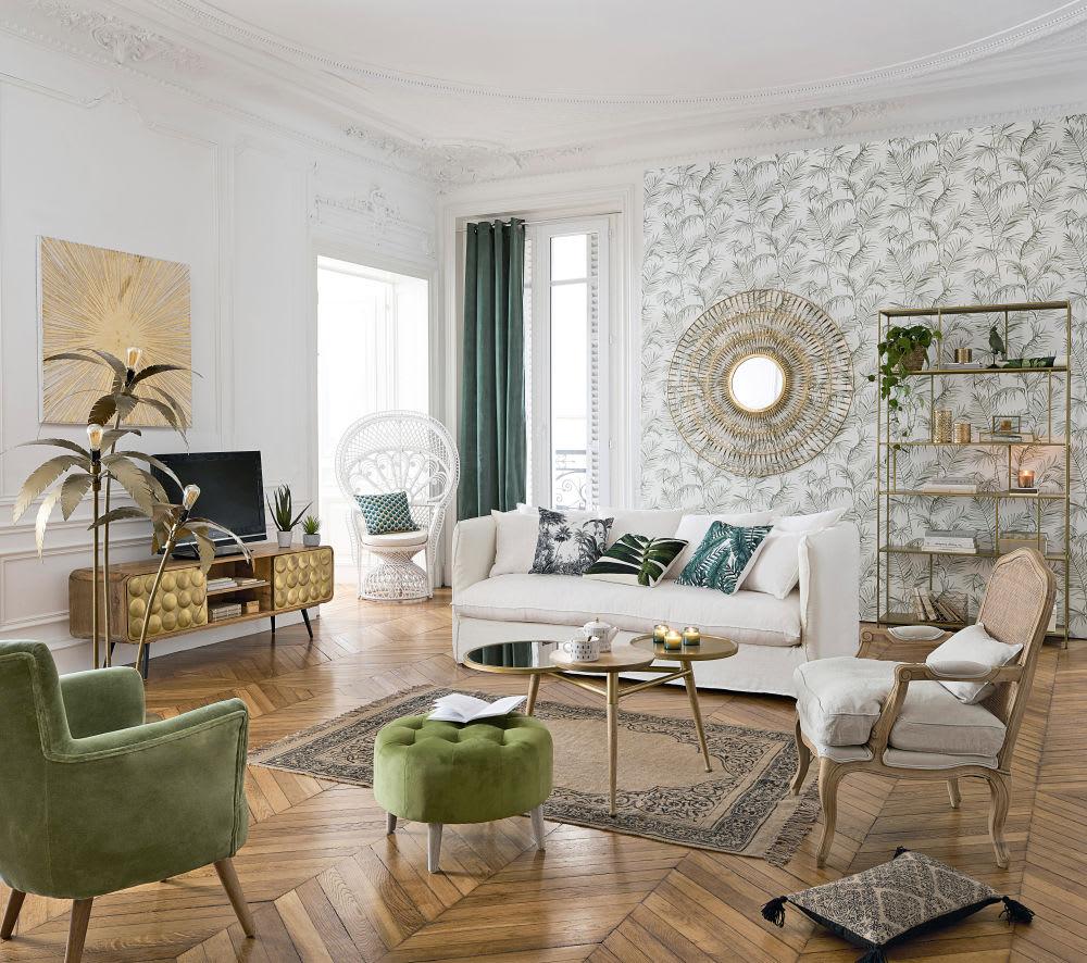 TV-Möbel mit 2 Schubladen im Vintage-Stil, aus massivem Mangoholz ...