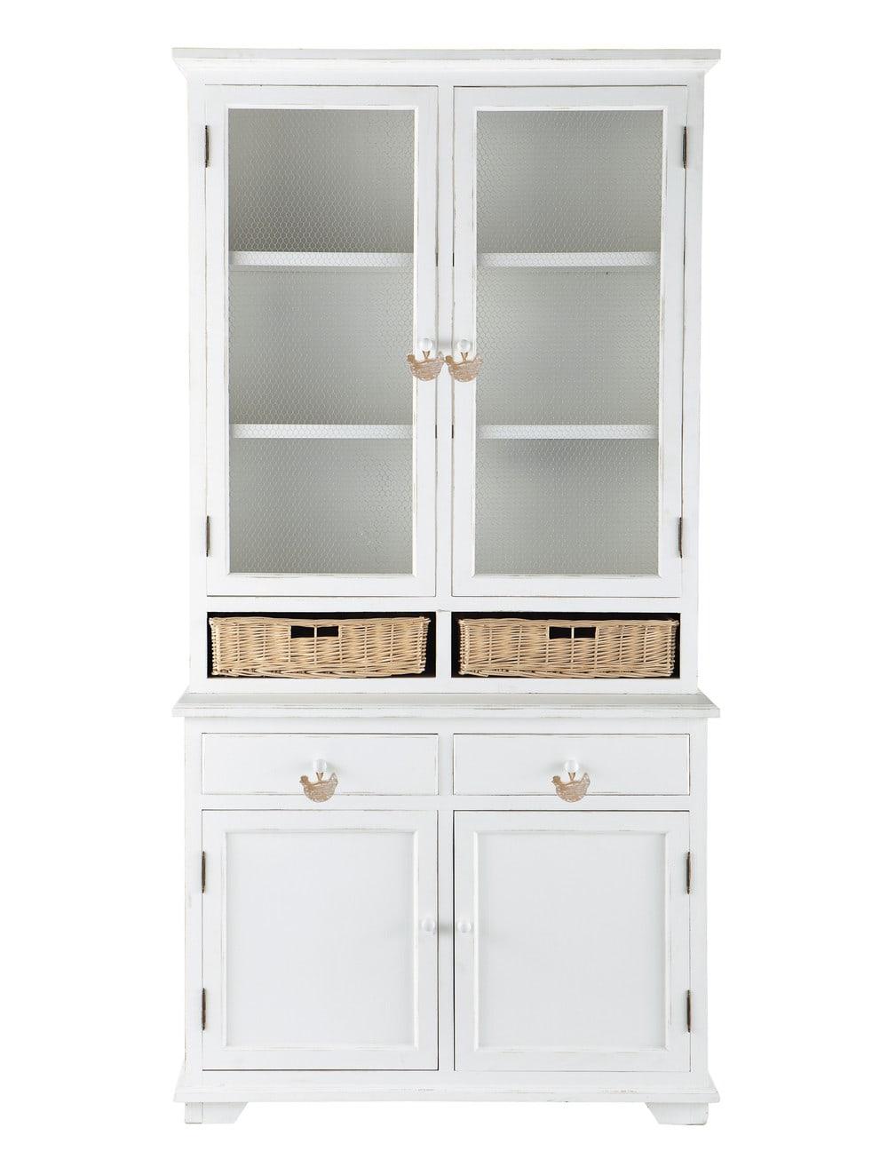 vaisselier 2 paniers en rotin blanc basse cour maisons. Black Bedroom Furniture Sets. Home Design Ideas