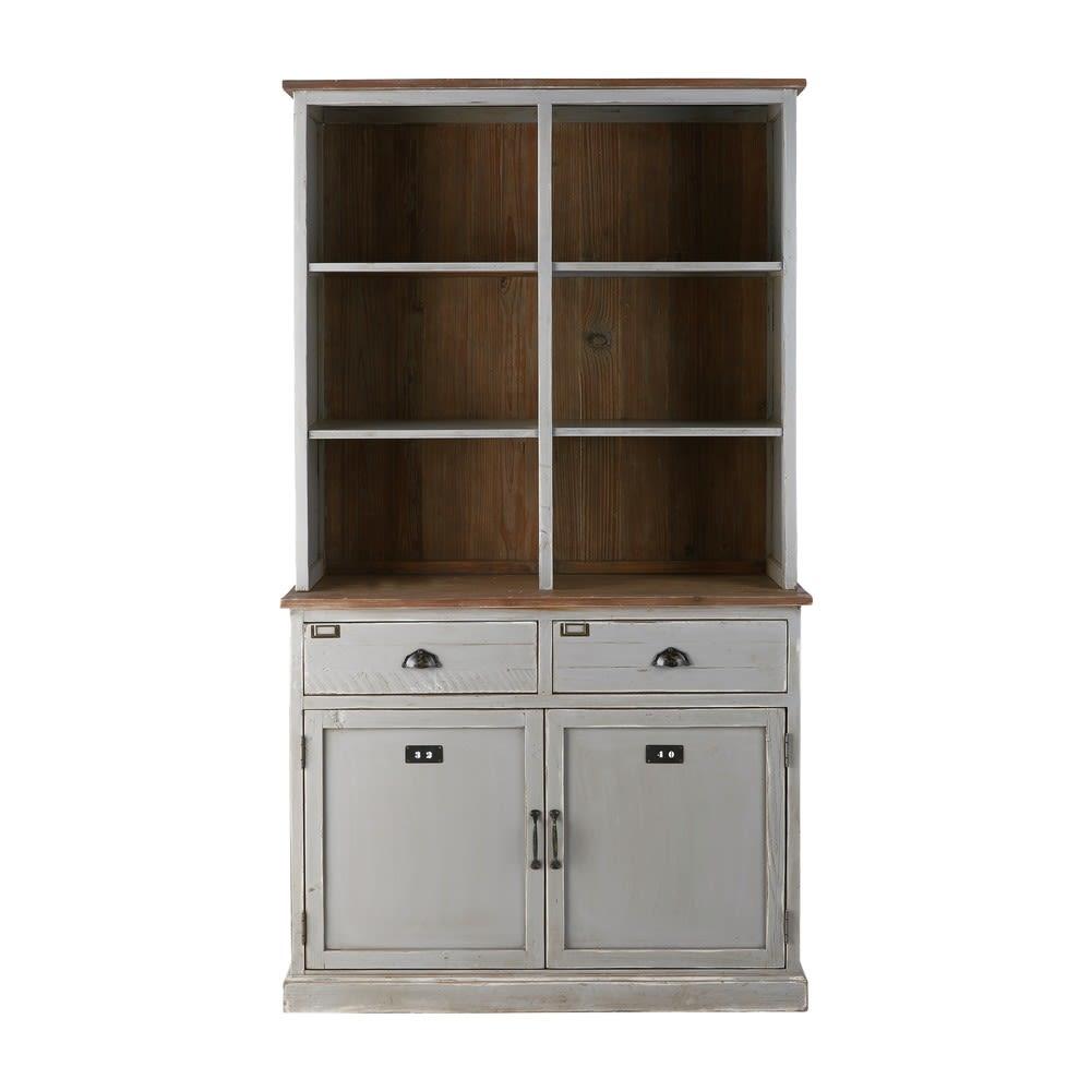 vaisselier 2 portes Vaisselier 2 portes 2 tiroirs en sapin recyclé gris Ernest