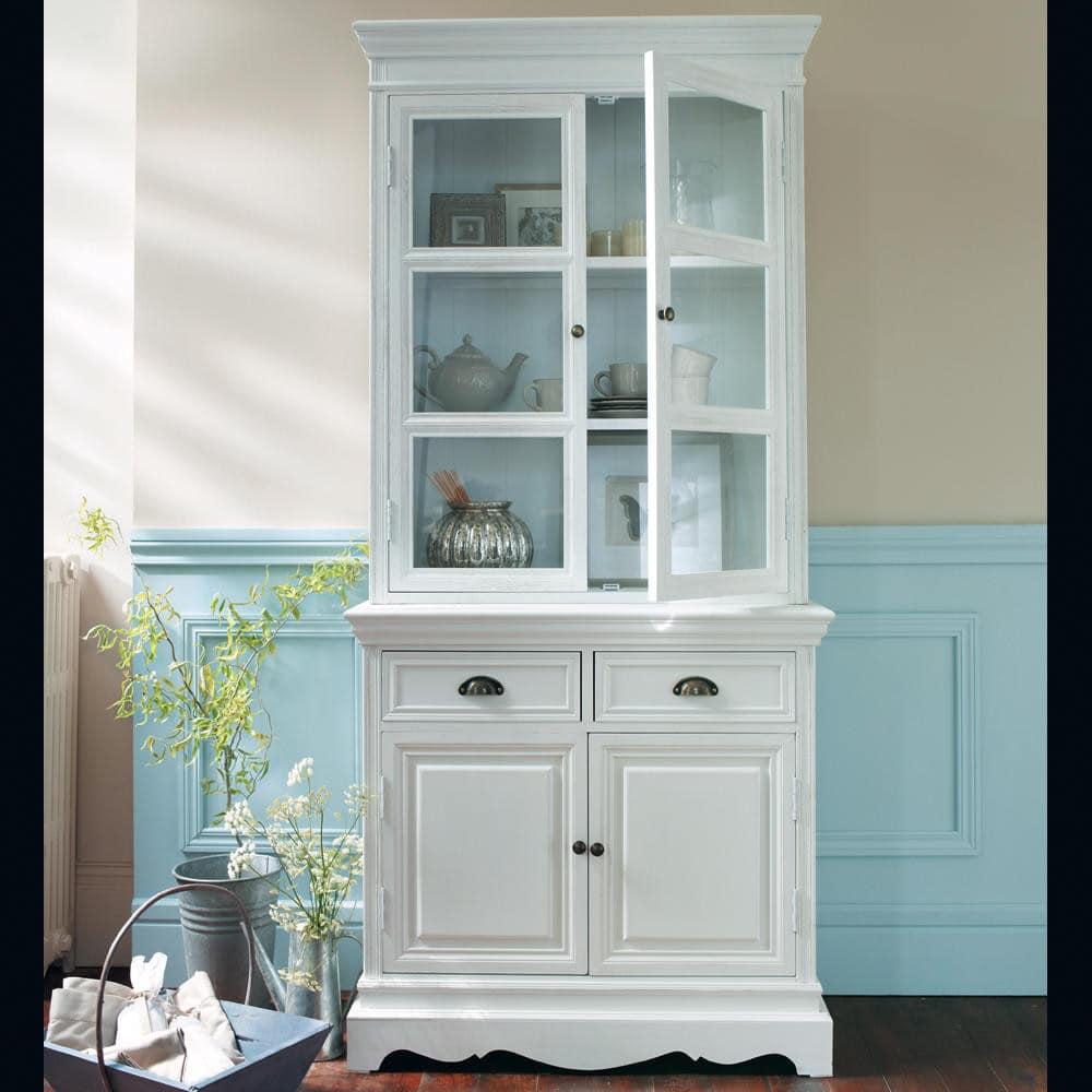 vaisselier en bois de paulownia blanc l 86 cm jos phine. Black Bedroom Furniture Sets. Home Design Ideas