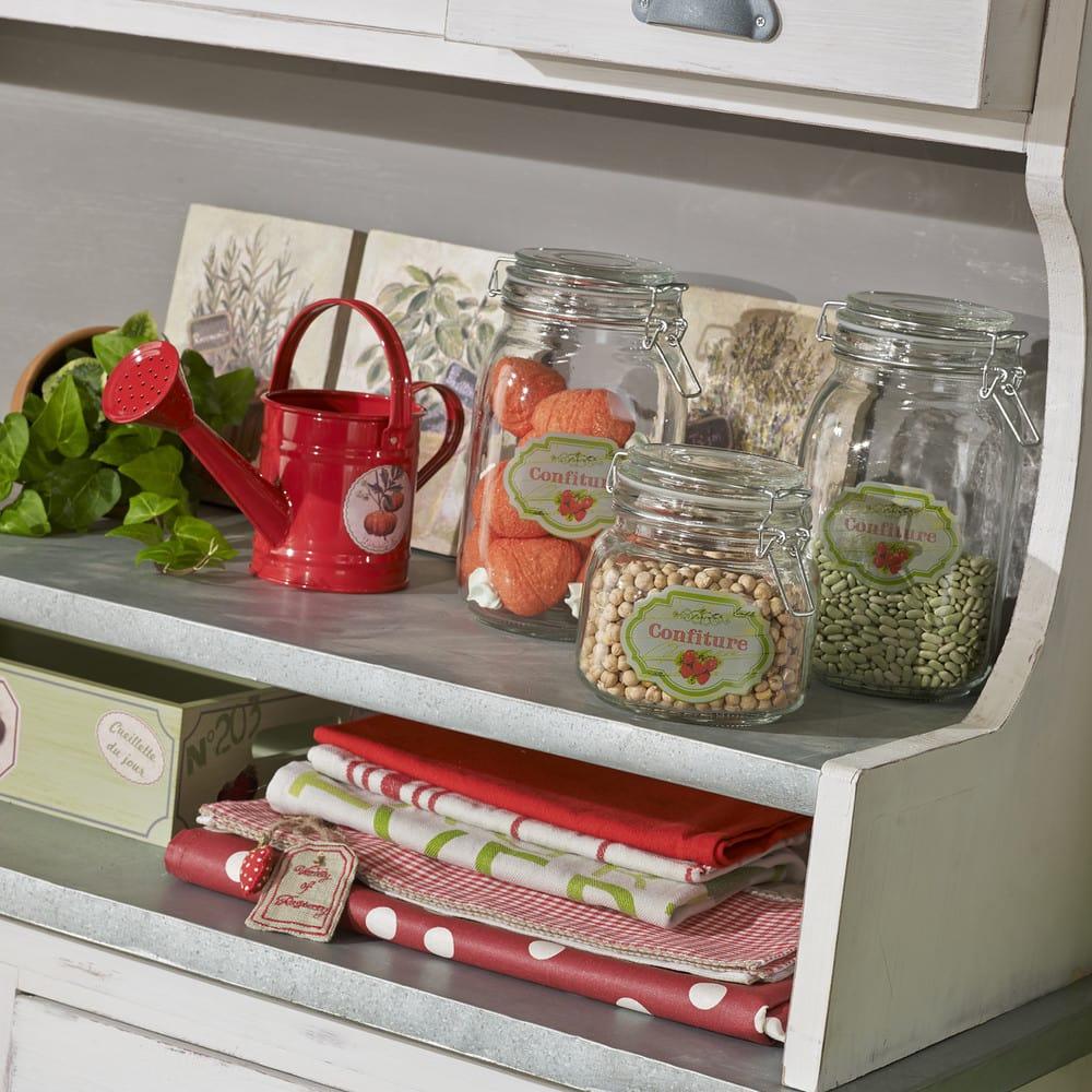 vaisselier en pin avec 3 paniers en rotin sorgues. Black Bedroom Furniture Sets. Home Design Ideas