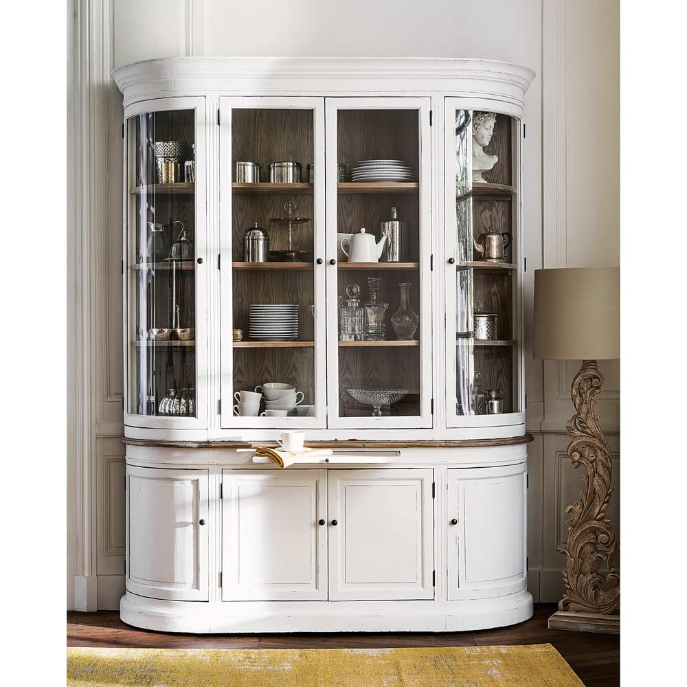 vaisselier vitr 8 portes en pin recycl blanc patin. Black Bedroom Furniture Sets. Home Design Ideas