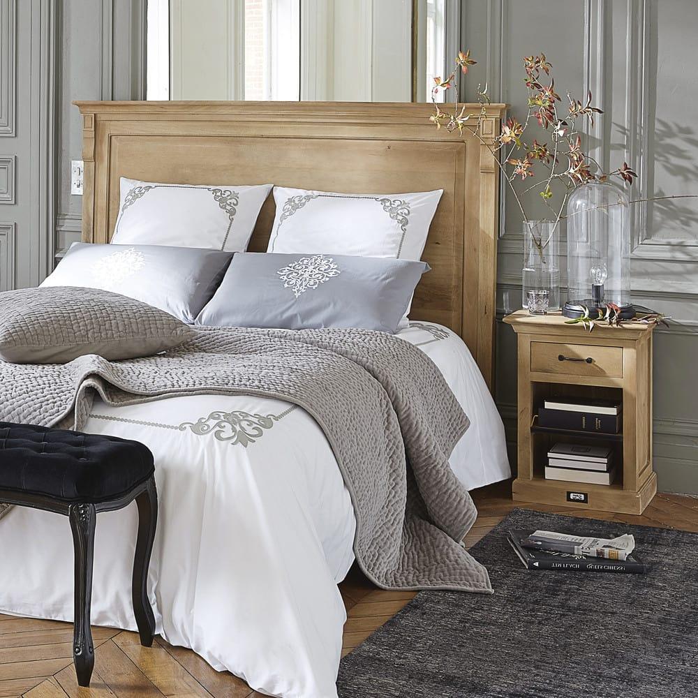 Velvet Quilted Bedspread In Grey 240 X 260cm Maisons Du