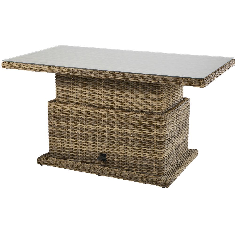 Verstellbarer Gartentisch Aus Kunstharz Und Glas Fur 6 Personen L155