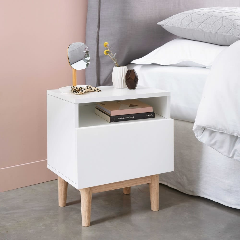 Vintage bedside table in white artic maisons du monde - Maison du monde table de nuit ...