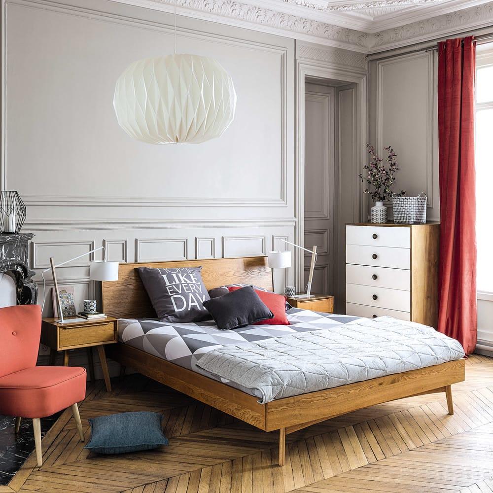 vintage bett aus eiche 140x190 portobello maisons du monde