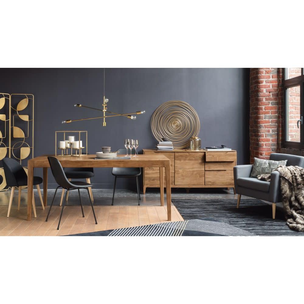vintage esstisch f r 6 8 personen aus akazienholz l180. Black Bedroom Furniture Sets. Home Design Ideas