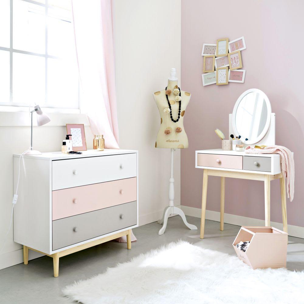 Vintage Kommode Weiss Rosa Grau Blush Maisons Du Monde