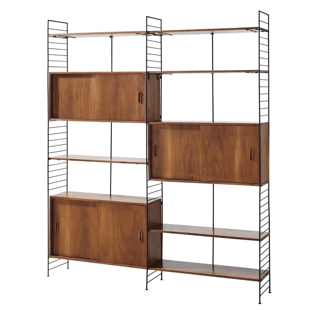vintage regal mit 6 t ren aus schwarzem metall und. Black Bedroom Furniture Sets. Home Design Ideas