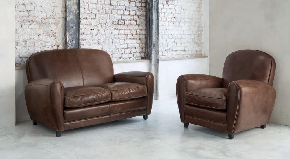 Vintage Sofa 2 Sitzer aus Leder braun Oxford