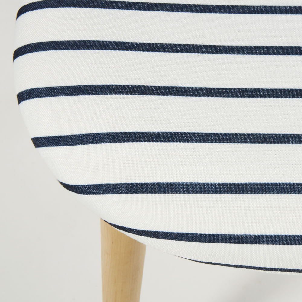 vintage stoel met marineprint en massief berkenhout. Black Bedroom Furniture Sets. Home Design Ideas