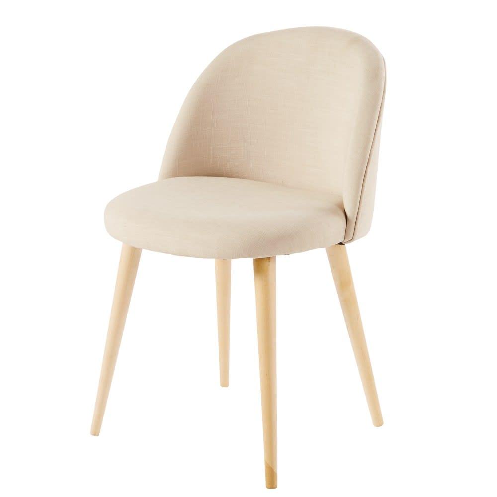 vintage stuhl mit massivbirke ecru mauricette maisons. Black Bedroom Furniture Sets. Home Design Ideas
