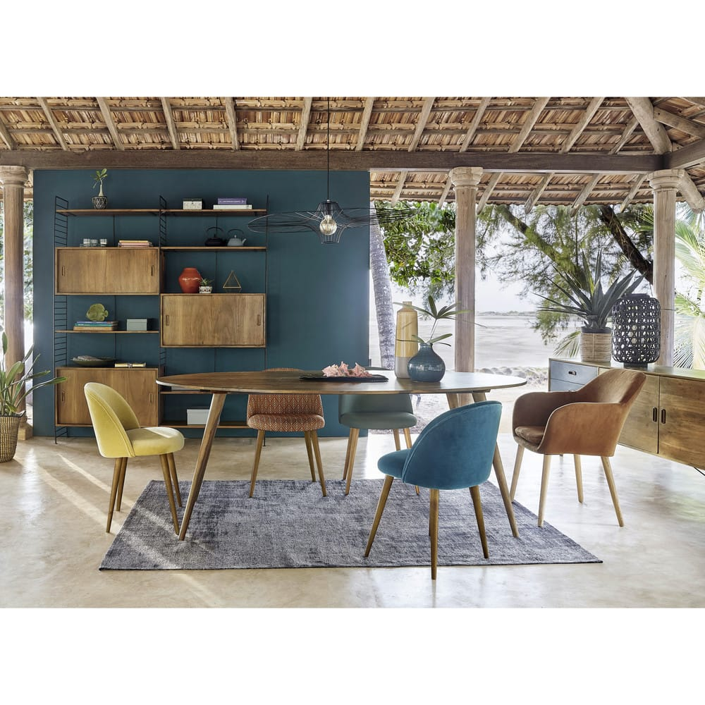 Vintage Stuhl Mit Massivbirke Grün Mauricette Maisons Du Monde
