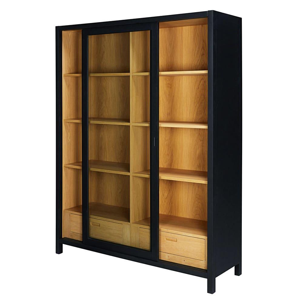 vitrine 2 tiroirs noire nepaya maisons du monde. Black Bedroom Furniture Sets. Home Design Ideas